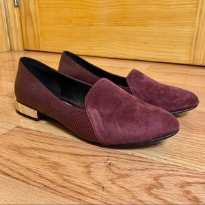 ALDO Burgundy Suede Loafers with Gold Heel 7.5